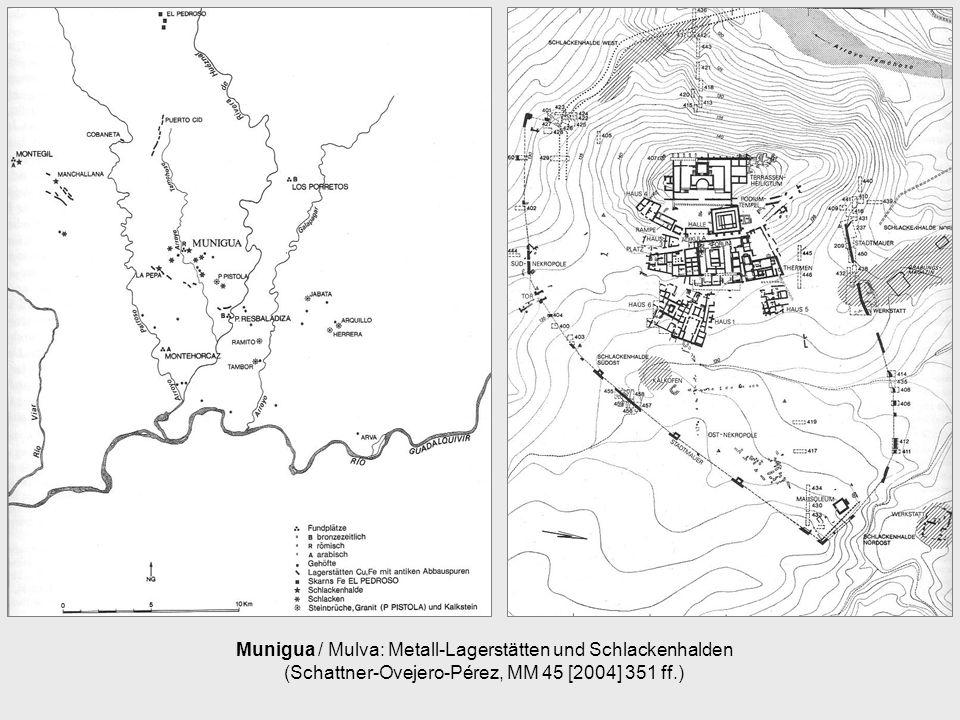 Munigua / Mulva: Metall-Lagerstätten und Schlackenhalden (Schattner-Ovejero-Pérez, MM 45 [2004] 351 ff.)